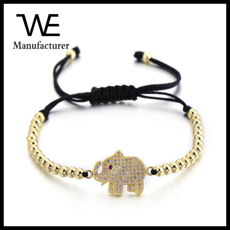 2017 High Quality Cute Cubic Zirconia Elephant Charm Adjustable Leather Brass Beaded Bracelet Women