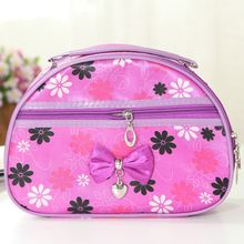 Large capacity thicken cosmetic bag striped flower dot pattern travel cosmetic bag waterproof printing bow make up bag custom
