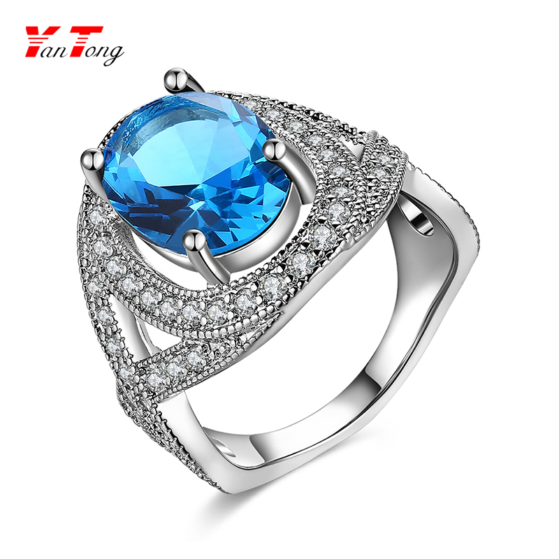Women's Oval Quartz Ocean Blue Gemstone Filled Jewelry Giant Platinum Diamond Ring