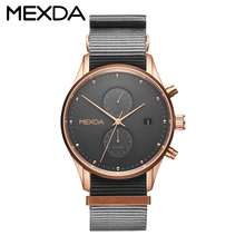 Latest sport type design custom logo rose gold plated japan quartz chrono movt nato nylon strap hand wrist watch