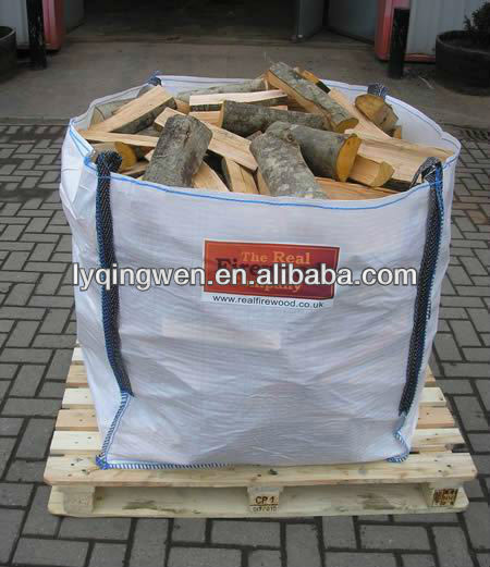 PP bulk bag for packing firewood 1000kg,U type, over locking and clain stitich,any color choosen,UV treated