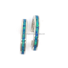 2017 Fashion 925 sterling silver stud earrings blue opal inlay large hoop clip on earrings