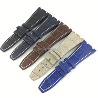 Wholesale Stock 27mm Thick Line Alligator Watch Band Genuine Claf Leather Watch Strap