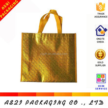 recyclable reusable golden metallic promotional tote bags for sholesale