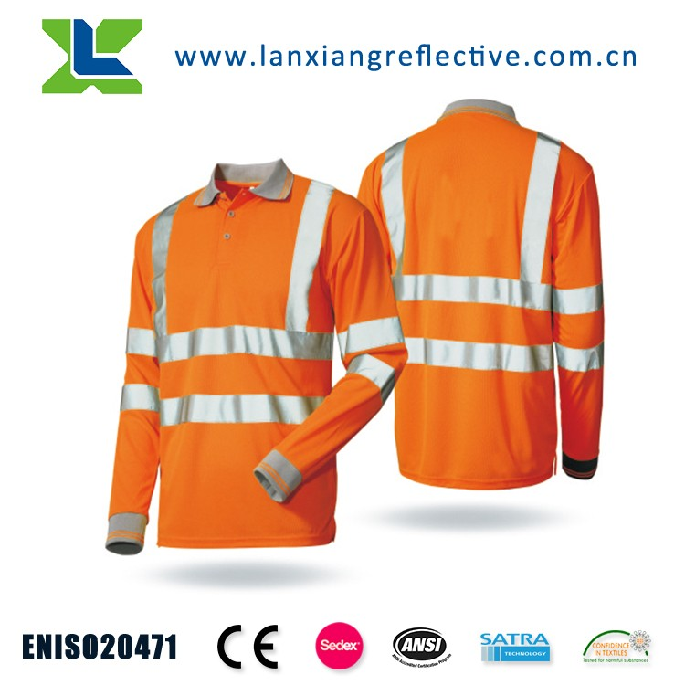Hi Vis Long Sleeve reflective Safety Work-wear men's polo Shirt