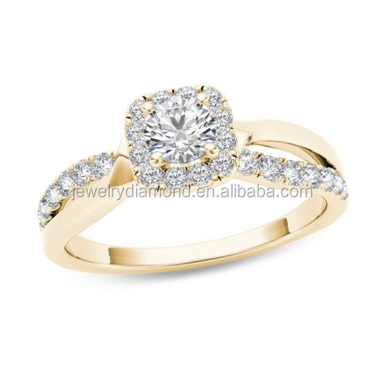 Y00258- In 916 Gold Rose Shaped Diamond Turtle Pair Engagement Rings