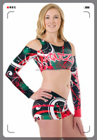 Full Sublimated Printting Cheerleading uniforms Top and Skirt with short spirit cheer uniforms
