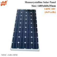 150W 18V 36cells High Quality Monoycrystalline Tempered Glass Solar Panel with Size 1485x668x35mm