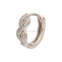 Infinity Hoop Earring with 3A Zircons for Women in Sterling Silver Metal