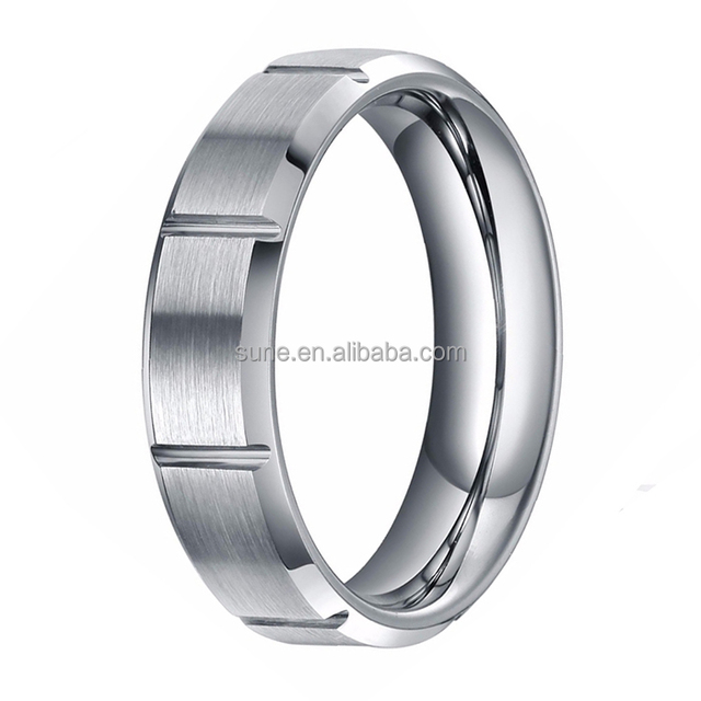 6mm Silver Titanium Ring Men's Wedding Bands Brushed Bevel Engagement Anniversary Best Gift Classic Women Jewelry