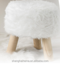 art deco floral home faux fur furniture stool