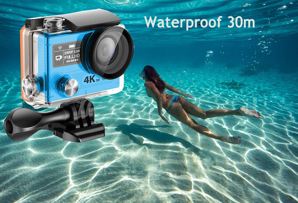 "VR360 Action Camera Dual Screen 2.0"" LCD main screen 320*240 + 0.95"" OLED 16MP camera 4K 30fps WiFi 30M Diving sport cam DV-31"