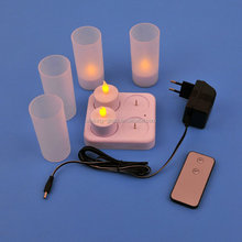 Led rechargeable candle light with frosted cups
