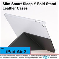 Slim Smart Sleep Y Fold Stand Leather Cover Case For iPad Air 2,Cheap Tablets PC PU Leather Magnet Stands Cases