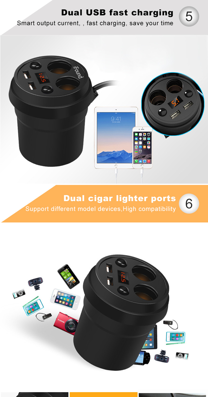 Promotional cup shape 3.1A smart 3 in 1 cup holder mobile phone usb car charger
