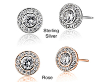 Nice Sterling Silver Crystal Round Halo Stud Earring