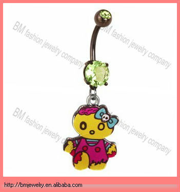 Green CZ Girl Zombie Dangle Belly Button Navel Ring holiday piercing jewelry beautiful design