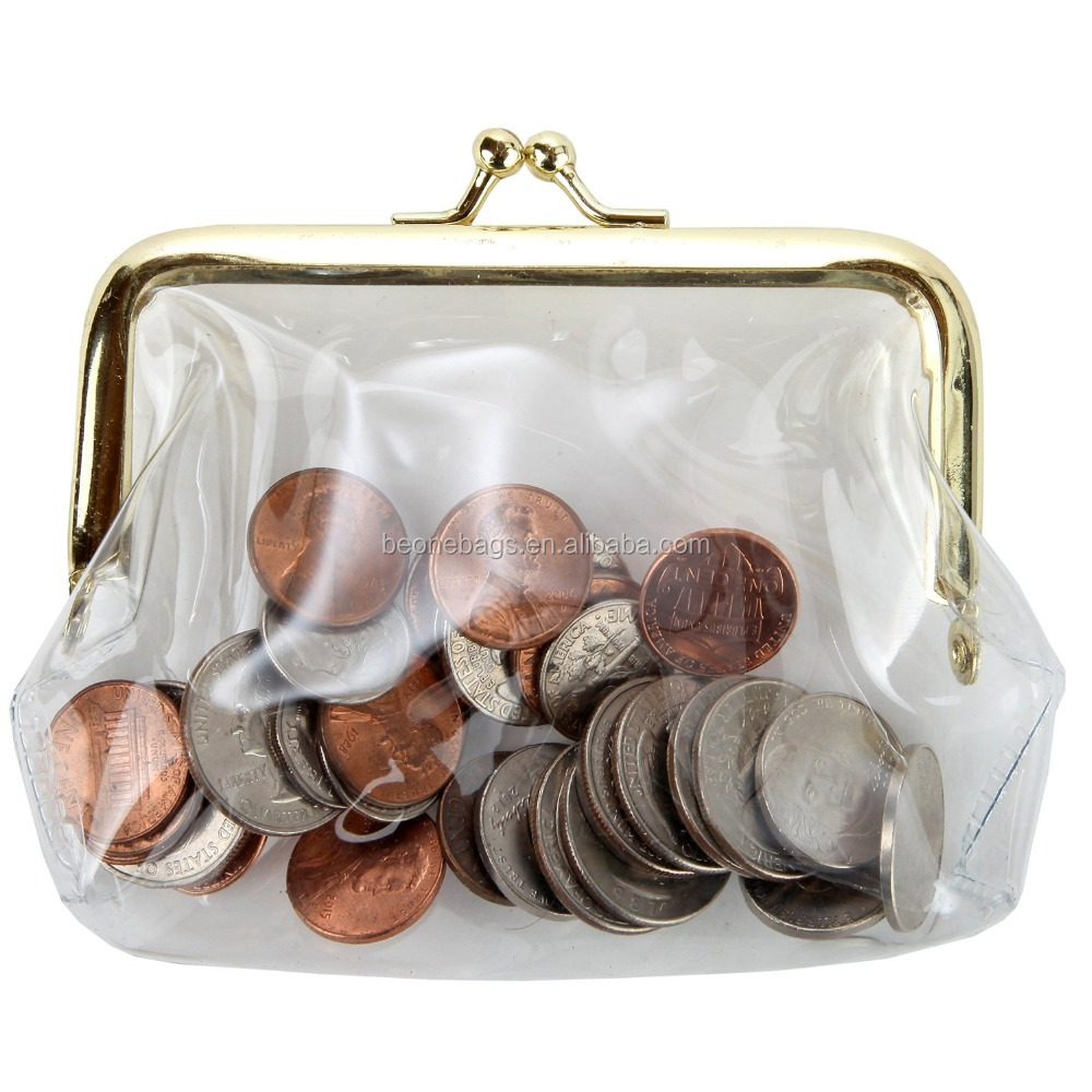 Classic Metal Frame See Through Coin Bag Clear PVC Coin Purse