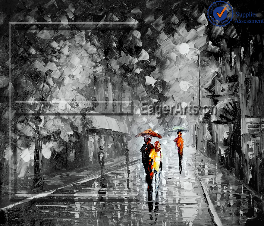 Artistic Impression Handmade Canvas Street Landscape Knife Oil Painting Hotel Decorative Wall Art