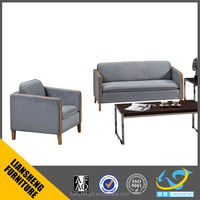 2016 modern solid wood leg office sofa set with grey color 1+1+3 set director manufacturer fabric / PU /leather