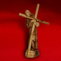 Olive Wood Handmade Carved Jesus Holding Cross sculpture 20cm