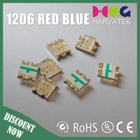 Ultra bright 25mA 3.2x2.7x1.1mm sanan chip surface mount 1206 bicolor red blue led