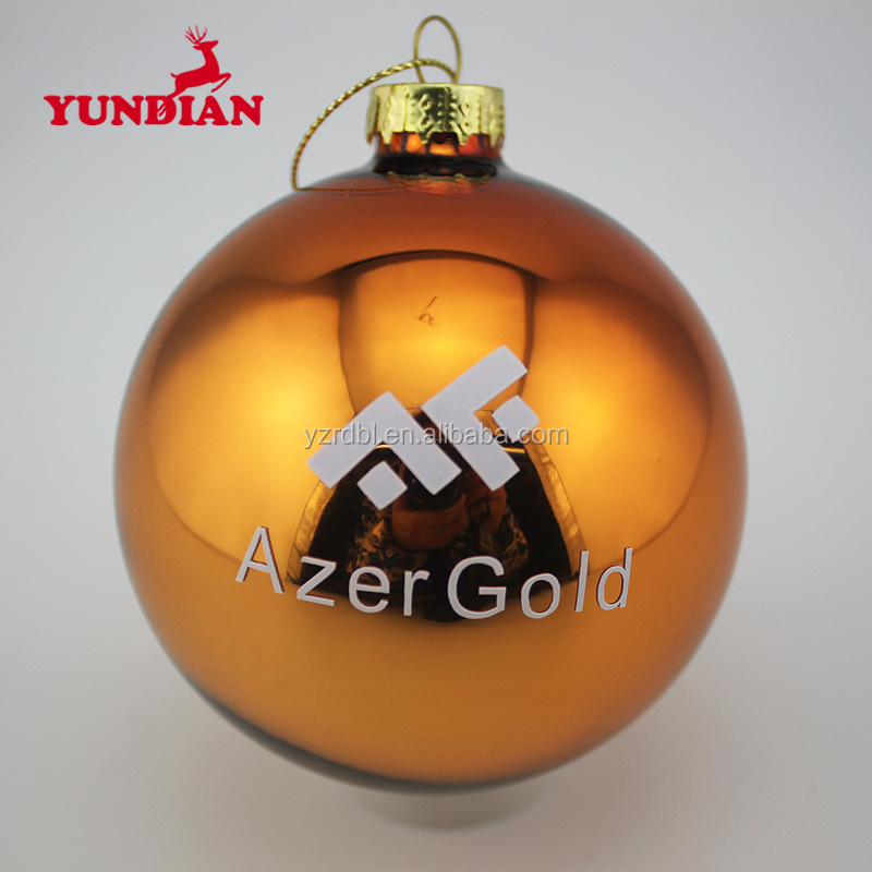 hand painted customized mirror bronzing christmas glass balls ornaments with logo