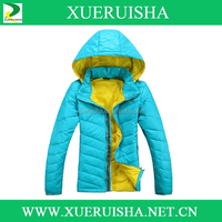 Outdoor Ladies Sport fashion Down jacket with hood