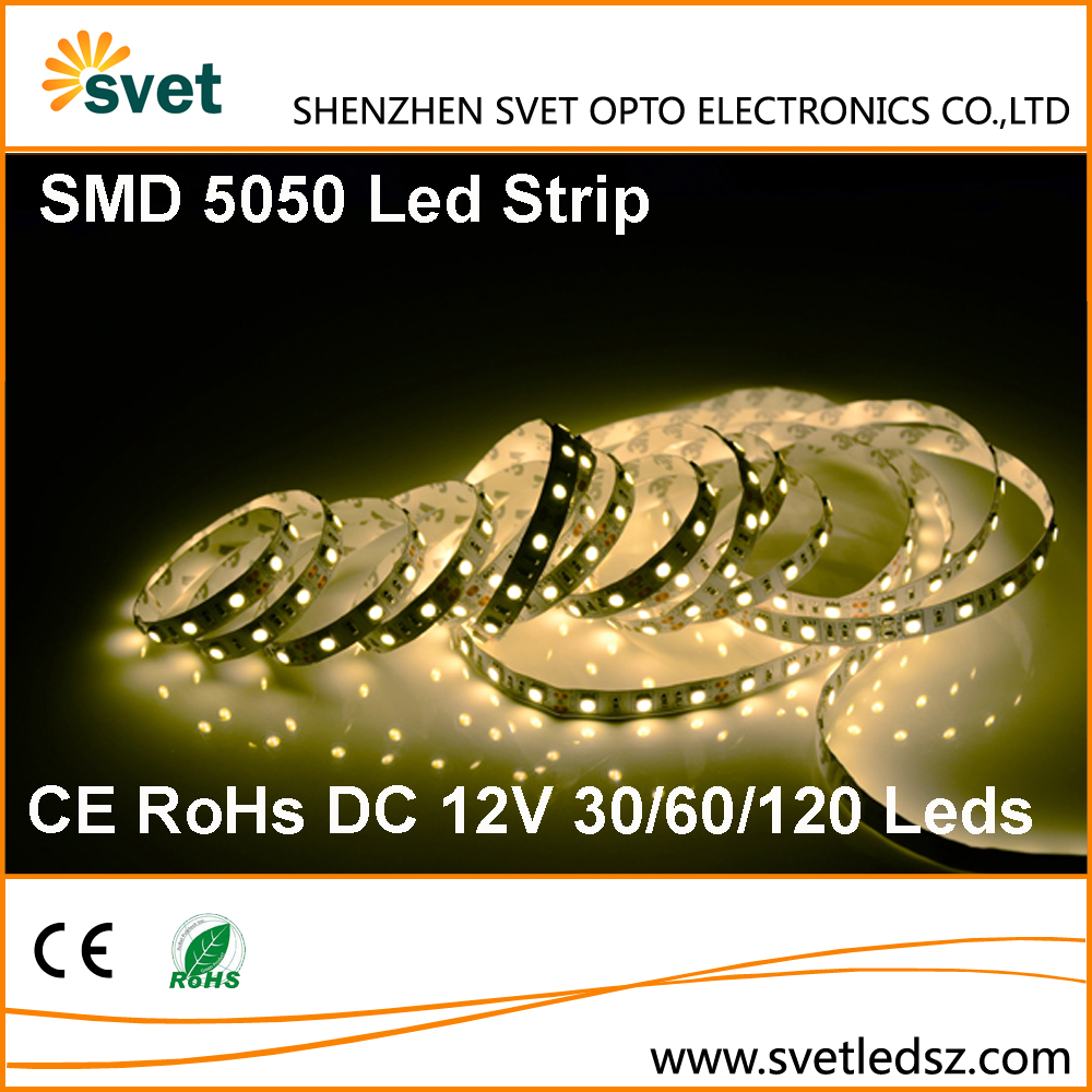 High Lumen Output SMD 5050 12V 60 Price Per Meter Led Strip Light Double PVC 10mm Wide PCB