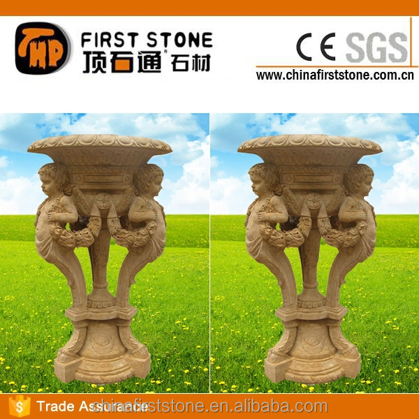 MGP260 Stone Child Statue Antique Flower Pot