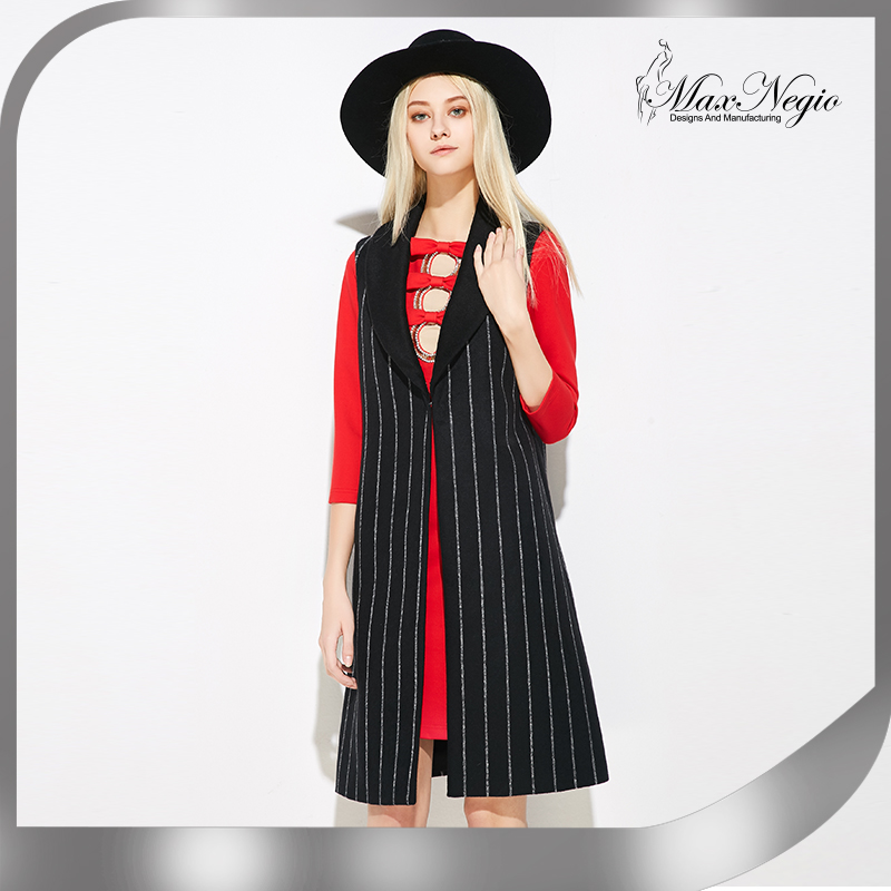 MaxNegio Women Fashion Clothing Turn-Down Collar Open Stitch Back Split Striped Outwaer Casual Joker Jacket Coat Long Vest