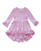 2018 boutique girls ruffles dress solid color cotton hi-low long sleeves dress baby girls newest frocks designs