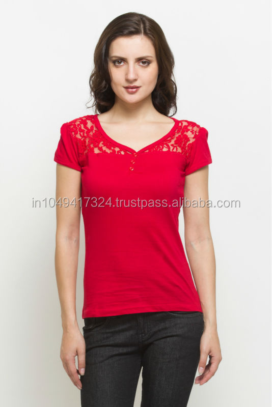 Ladies Stylish Lace T shirt, Hoesery fitted T- Shirt, Red T- Shirt.
