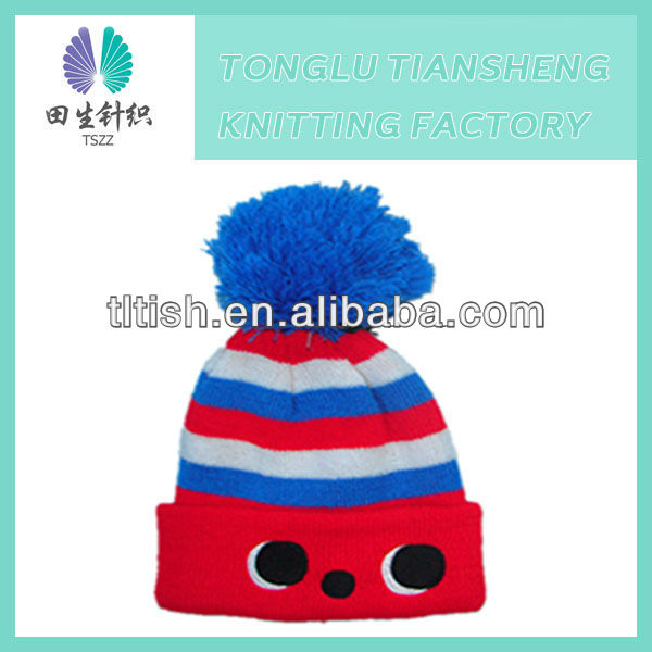 New brand latest designer cute style winter warm soft acrylic knitted fashion child hat