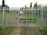 2016 Steel Picket Fence Palisade Fence Factory / Zinc Coating Security Palisade Fence