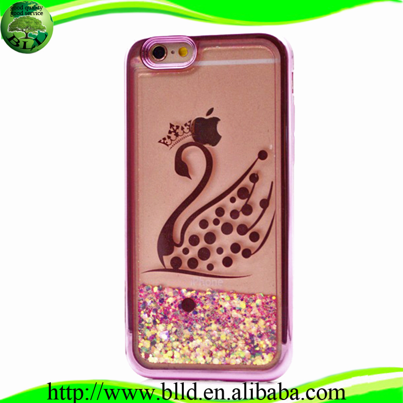 Electroplating and custom liquid glitter bling tpu accesorios para celulares fundas case for iphone 7