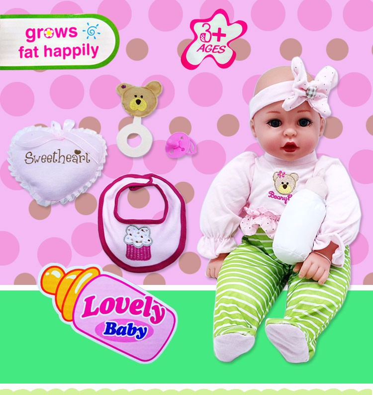 18 Inch Cotton Baby Silicone Doll