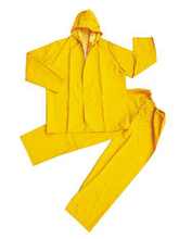 Adult Wholesale Hooded Emergency PVC Yellow Rubber Rainsuit
