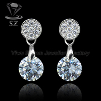 Factory directly selling platinum plated clear stone stud earring accessories