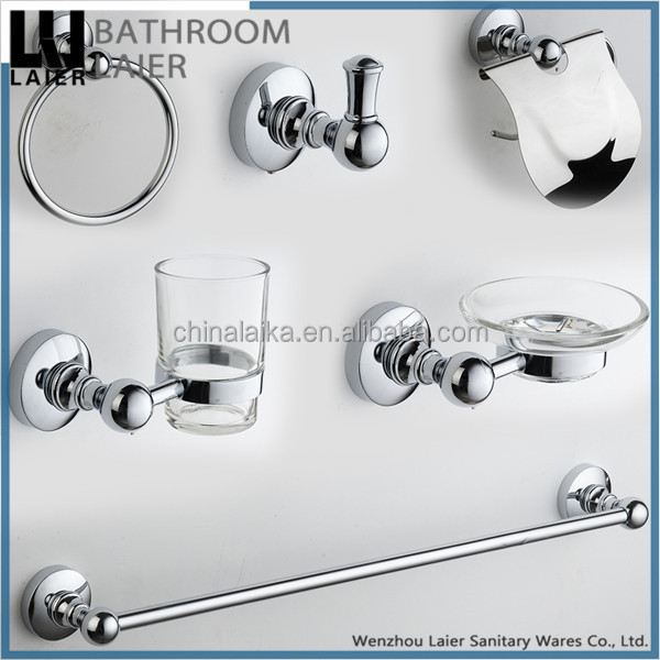 Sleek Chinese Wholesalers Zinc Alloy Chrome Finishing Wall-Mounted Bathroom Accessories Set
