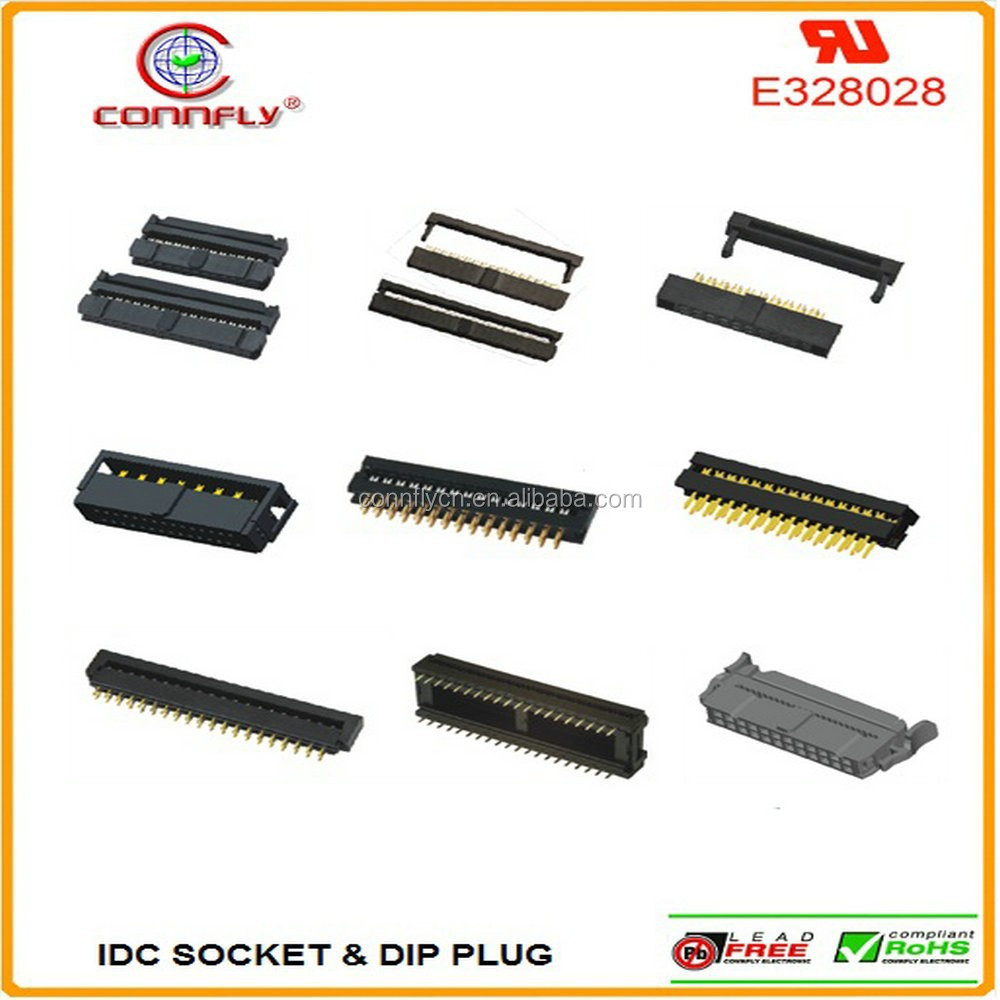 1.27, 2.0, 2.54mm 6pin~64pin idc socket and dip plug connector