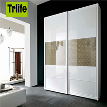 simple design Wardrobe 2 Sliding Door lowes wardrobe white high glossy lacquered closet