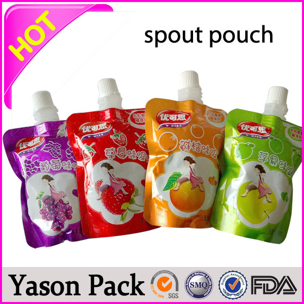 Yason transparent spout pouch transparent salad bags with spout transparent spout bag