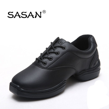 Low Heel Split Sole Genuine Leather Woman Dance Shoes Round Toe Wide Fitness Soft Insole Cushion 8859