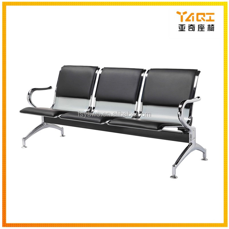 Alibaba discount Foshan public furniture durable airport hospital seats 3 -seater leather metal waiting chair YA-25