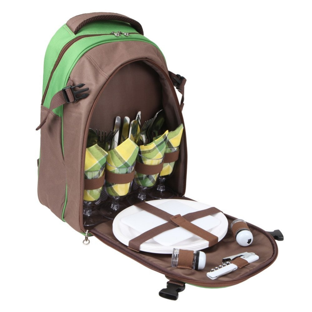 Polyester Large Cooler Compartment Picnic Backpack Bag for 4 Person with Cutlery Set and Blanket Holder