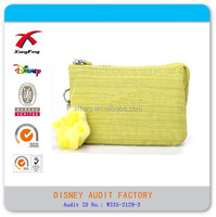 2015 XF Hot Sale Nylon Wallet Pure Yellow Wallet With Zipper