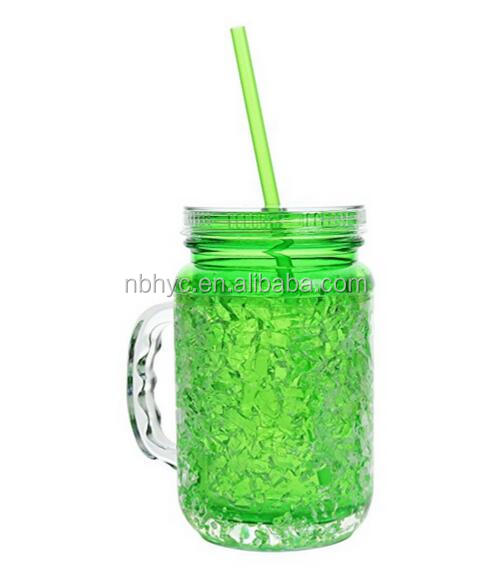 Hot Sell Summer Cooler Mason Jar Frosty Freezer Mugs, Double Wall 20oz Freezer Mugs with Lids and Straw, Double Wall Mason Jar