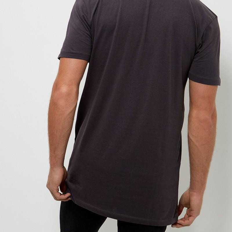 Dark grey longline mass production t shirts wholesale for Mass t shirt production