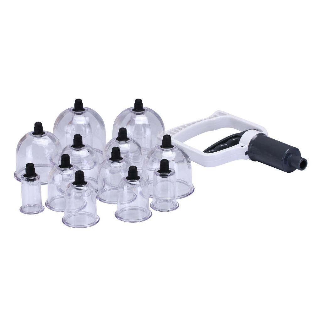 12 pc/Set Medical Vacuum Cupping with Suction Pump Suction Set Kit body relaxation Massage cupping set